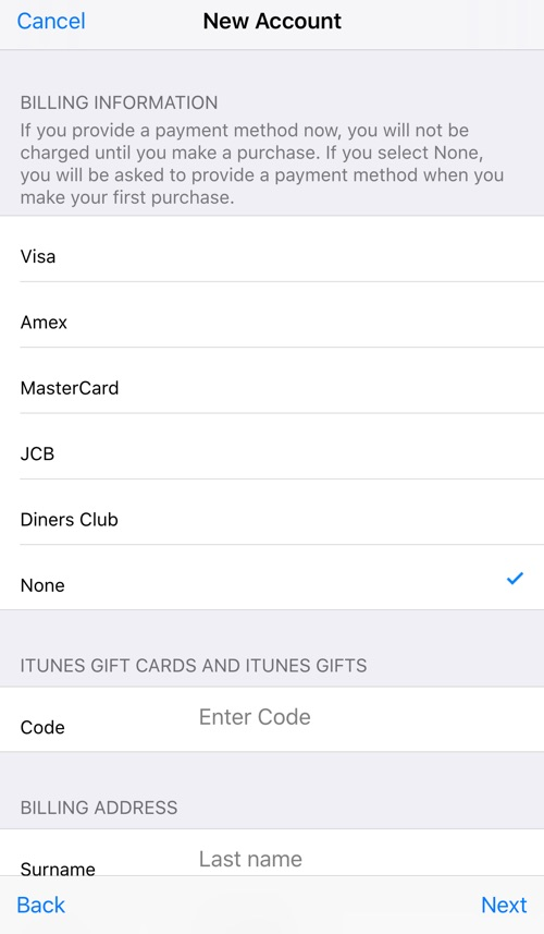Select None for Billing Info - iOS